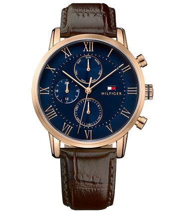 Мужские часы с хронографом, темно-коричневый кожаный ремешок, 44 мм Tommy Hilfiger