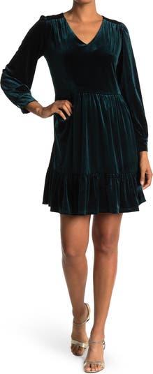 Многослойное бархатное платье с объемными рукавами Sandra Darren