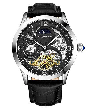 Мужские часы с черным кожаным ремешком 45мм Stuhrling