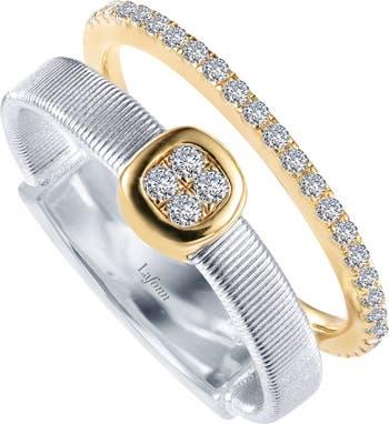 Двухцветное кольцо из стерлингового серебра с имитацией бриллианта с паве LaFonn