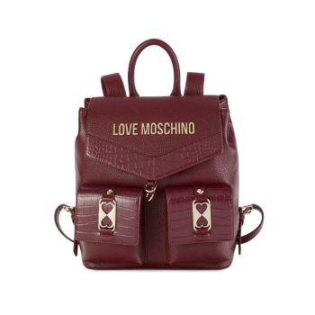 Рюкзак с тисненым логотипом под крокодиловую кожу LOVE Moschino