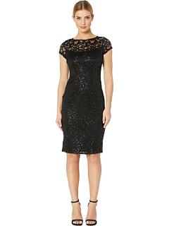 Платье миди с кружевной отделкой и эластичным кружевом MARINA
