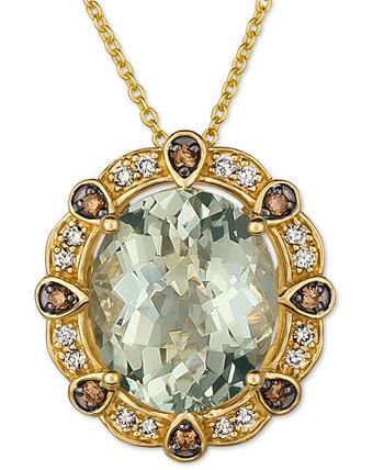 Мятный джулеп с кварцем (4 карата) и бриллиантами (1/5 карата) 20-дюймовое ожерелье с подвеской из 14-каратного золота Le Vian