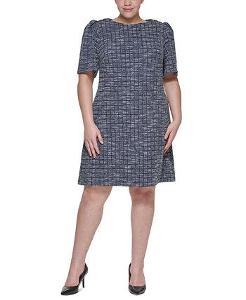 Твидовое платье-футляр с пуговицами на плечах Calvin Klein