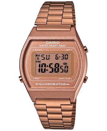 Мужские цифровые винтажные часы из нержавеющей стали с браслетом из розового золота 39x39 мм B640WC-5AMV Casio