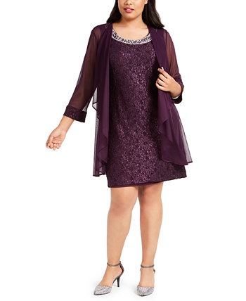 Кружевное платье и пиджак большого размера R & M Richards