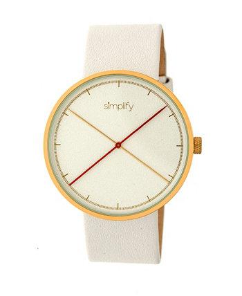 Quartz The 4100 Gold Case, часы из натуральной белой кожи 43 мм Simplify