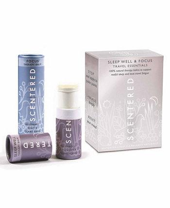 Travel Essentials Aromatherapy Balm Duo, 0,17 унции каждый Scentered