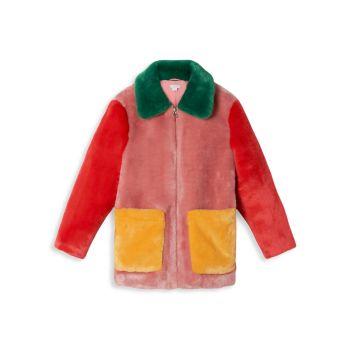 Пальто с цветными блоками для маленьких девочек и девочек из искусственного меха Stella McCartney Kids