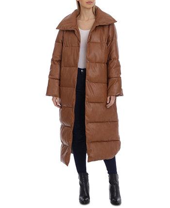 Пуховое макси-пальто из искусственной кожи Avec Les Filles