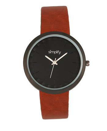 Часы Quartz 6000 Light Brown из искусственной кожи, 43 мм Simplify