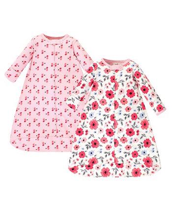 Носимый спальный мешок для маленьких девочек Coral Garden с длинными рукавами, 2 шт. В упаковке Touched by Nature