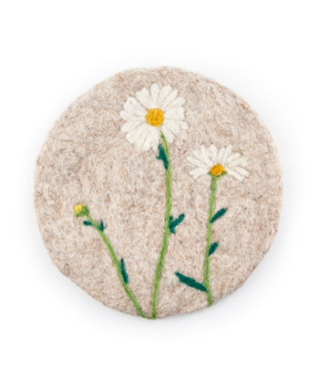 Валяная шерстяная накидка 8 дюймов с белыми цветами THIRSTYSTONE