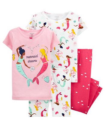 Пижамный комплект с русалкой для маленьких девочек, 4 предмета Carter's