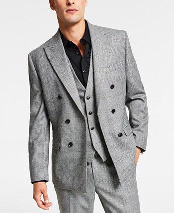Мужской двубортный пиджак облегающего кроя в черно-белую клетку, созданный для Macy's Bar III
