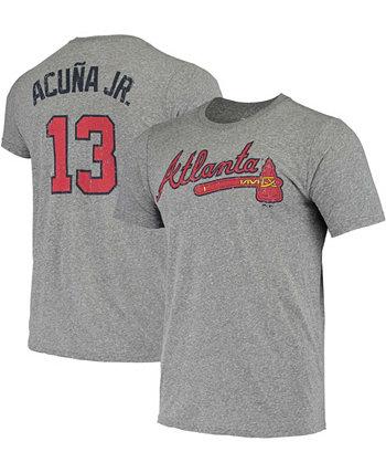 Men's Ronald Acuna Jr. Heathered Gray Atlanta Braves Name Number Tri-Blend T-shirt Majestic