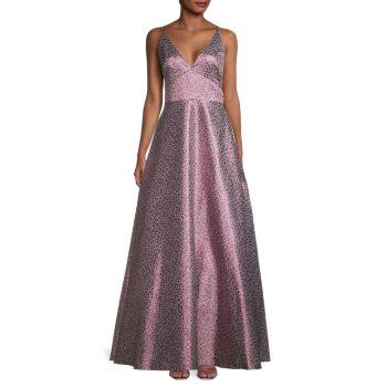 Бальное платье с металлическим цветочным принтом ML Monique Lhuillier