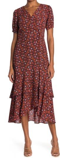 Платье с запахом и пышными рукавами с цветочным рисунком Nanette nanette lepore