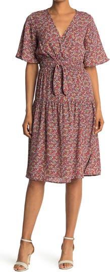 Платье миди с цветочным принтом и завязками на талии SUPERFOXX