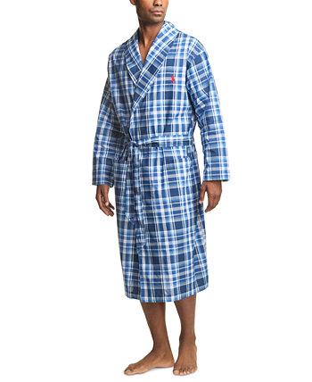 Мужской халат в клетку из тканого материала Ralph Lauren
