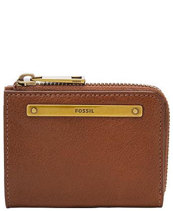 Женский кожаный миниатюрный кошелек на молнии Liza Fossil