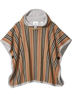 Двустороннее пончо с капюшоном в полоску из мериносовой шерсти Icon Stripe (Big Kids) Burberry Kids