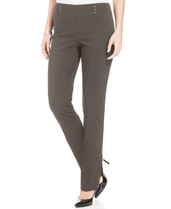 Регулируемые брюки с застежкой на животе с заклепками, обычной, короткой и длинной длины, созданные для Macy's J&M Collection
