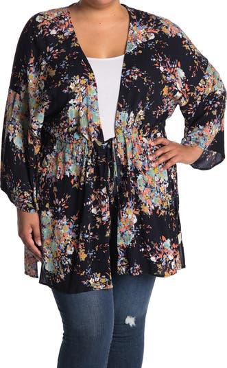 Floral Print Tie Front Kimono LOVESTITCH