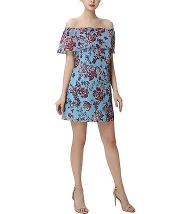 Женское шифоновое платье с открытыми плечами и цветочным принтом Augusta Kimi + kai