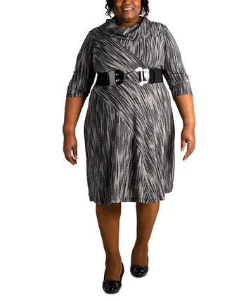 Платье больших размеров с поясом Robbie Bee
