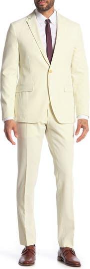 Pearson Beige Seersucker One Button Notch Lapel Skinny Fit Suit Savile Row