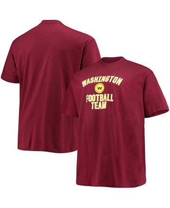 Men's Big and Tall Burgundy Washington Football Team Lockup T-shirt Profile