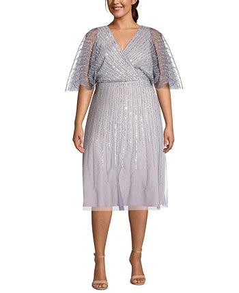 Платье больших размеров с пайетками и развевающимися рукавами Adrianna Papell