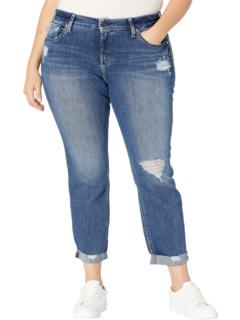 Plus Size Boyfriend Mid-Rise Slim Leg Jeans W27170EPX329 Silver Jeans Co.
