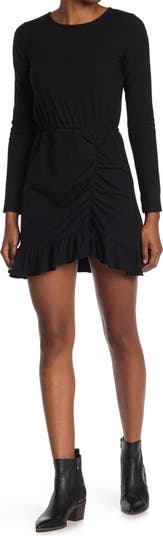 Вязаное платье в рубчик со сборками NSR