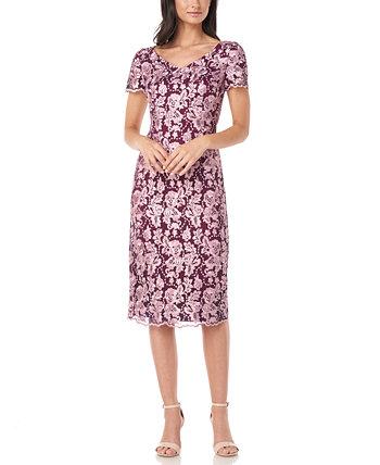 Платье-футляр с вышивкой JS Collections