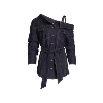 Асимметричная джинсовая куртка-рубашка Skyler Cinq a Sept
