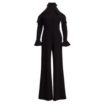 Комбинезон с длинными рукавами и оборками с открытыми плечами и рюшами ML Monique Lhuillier