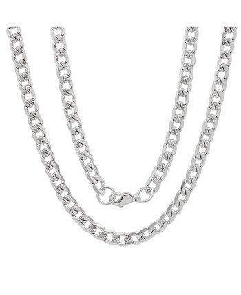 Мужские 24-дюймовые ожерелья с кубинской цепочкой 6 мм с акцентом из нержавеющей стали STEELTIME