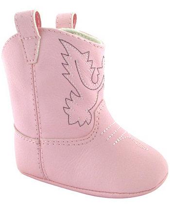 Ботинки в стиле вестерн для маленьких девочек с вышивкой и кантом Baby Deer