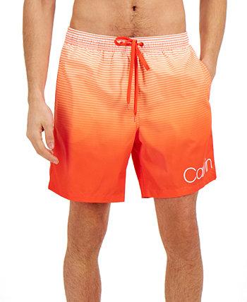 Мужские быстросохнущие плавки 7 дюймов в полоску с УФ-защитой 50+ Ombré, созданные для Macy's Calvin Klein