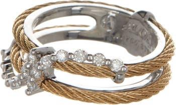 Кольцо из белого золота 18 карат с бриллиантом в виде кабеля - 0,28 карата - размер 7 ALOR