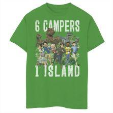 Футболка с рисунком для мальчиков 8-20 Jurassic World: Camp Cretaceous 6 Campers 1 Island Jurassic World