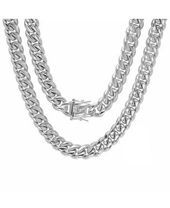 Мужские 30-дюймовые кубинские звенья из нержавеющей стали Miami с ожерельями с застежкой-коробкой 12 мм STEELTIME