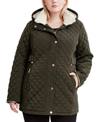 Стеганое пальто больших размеров с подкладкой из искусственной шерпы Laundry by Shelli Segal