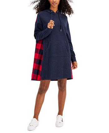 Платье-толстовка с капюшоном из разных материалов Tommy Hilfiger