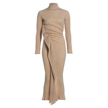 Трикотажное платье с длинными рукавами и драпировкой MM6 Maison Margiela