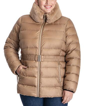 Plus Size Faux-Fur-Collar Puffer Coat Michael Kors