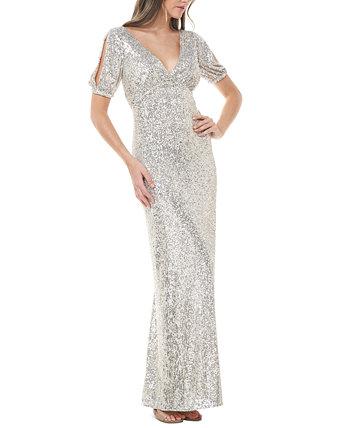 Платье с разрезом на рукавах с украшением JS Collections