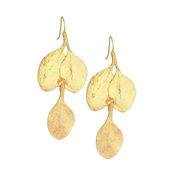 Satin Goldplated Leaf Drop Hook Earrings Kenneth Jay Lane
